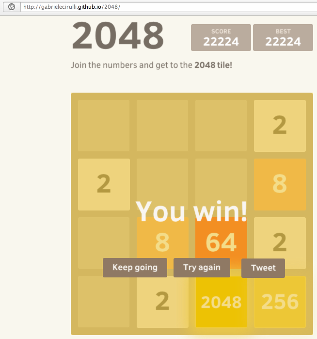 2048 game finished